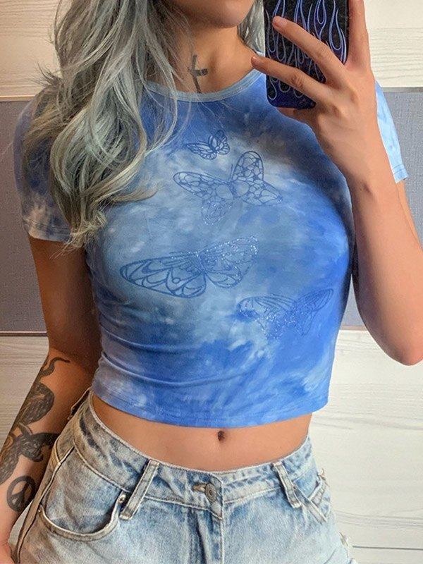Tie-Dye Butterfly Print Crop Top - Blue S