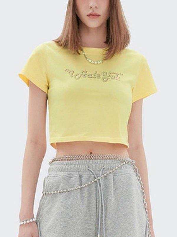 Hate You Rhinestone Crop Top - Yellow L