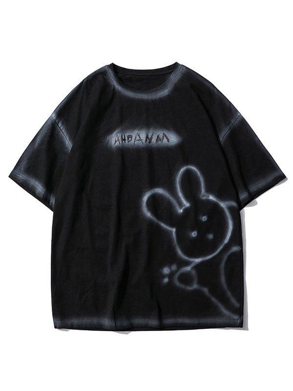 Men's Bunny Bear Printed Tee - Black L
