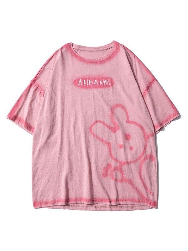 Men's Bunny Bear Printed Tee - Pink M
