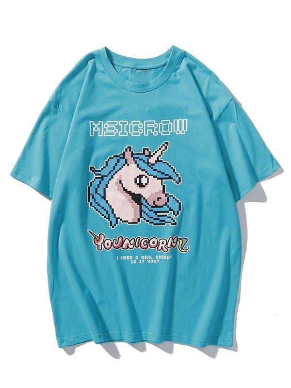 Men's Mosaic Unicorn Graphic Tee - Blue L