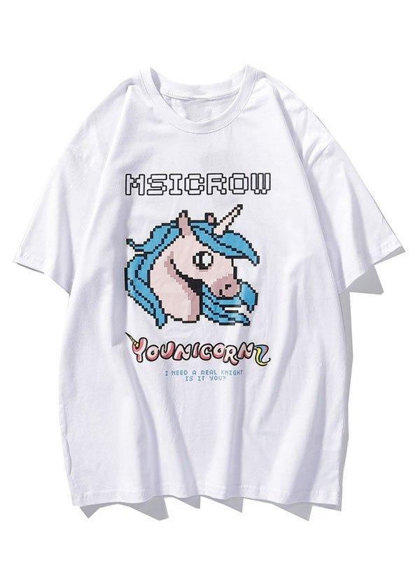 Men's Mosaic Unicorn Graphic Tee - White L