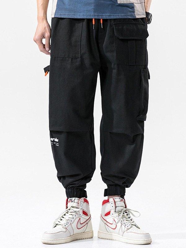 Men's Cotton Straight Cargo Pants - Black 2XL