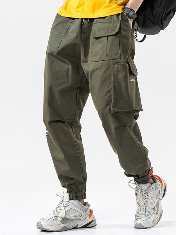 Men's Cotton Straight Cargo Pants - Green 4XL