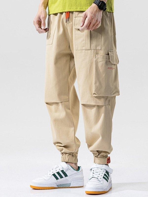 Men's Cotton Straight Cargo Pants - Khaki 4XL