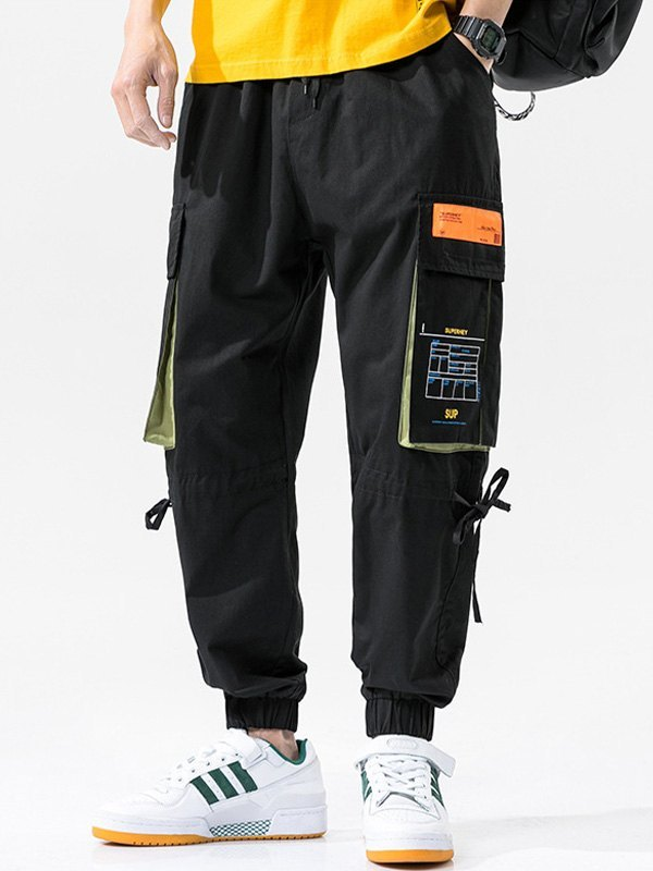 Men's Multi Pocket Cargo Pants - Black 4XL