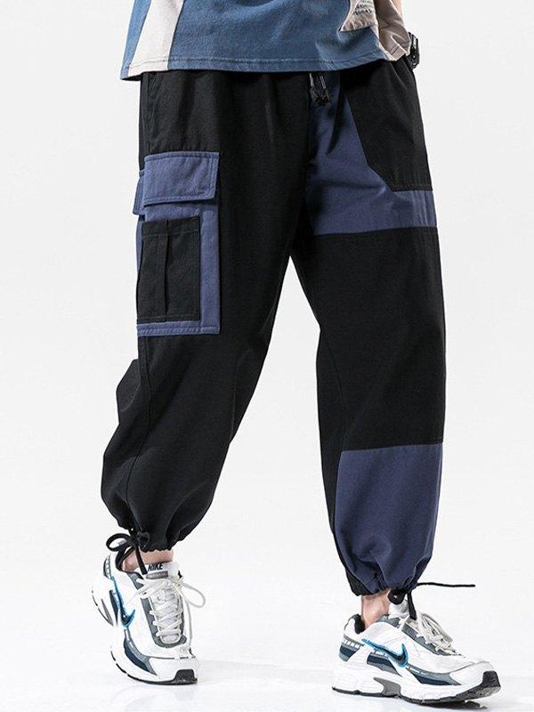 Men's Patchwork Cargo Pants - Black L