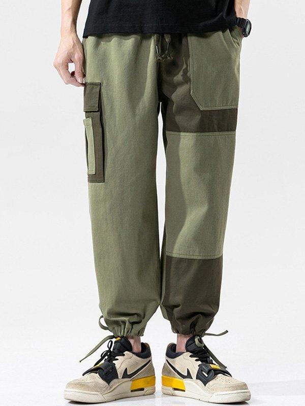 Men's Patchwork Cargo Pants - Green L