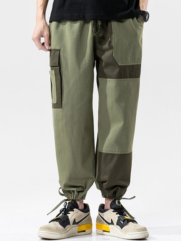 Men's Patchwork Cargo Pants - Green M