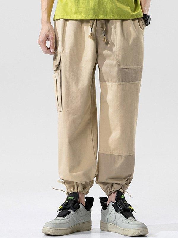 Men's Patchwork Cargo Pants - Khaki 2XL