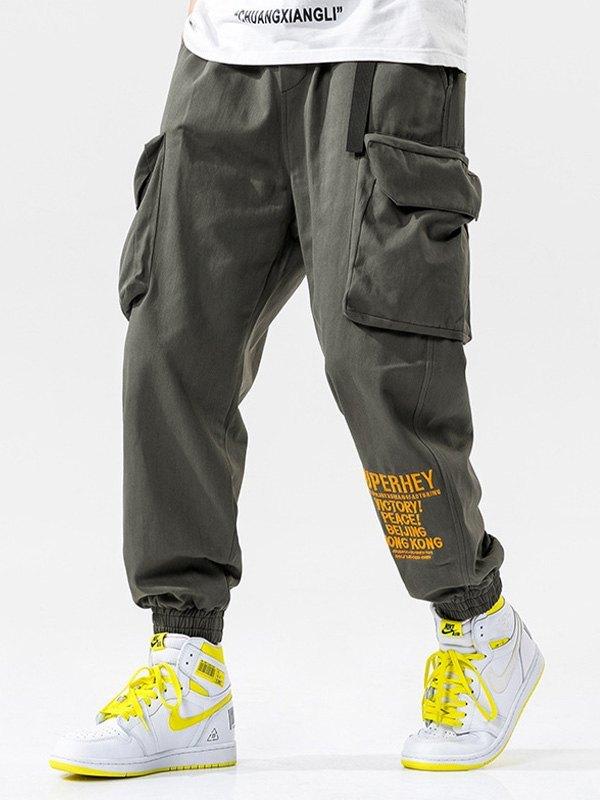 Men's Letter Print Cargo Pants - Gray 3XL