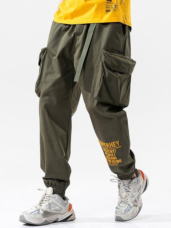 Men's Letter Print Cargo Pants - Green M