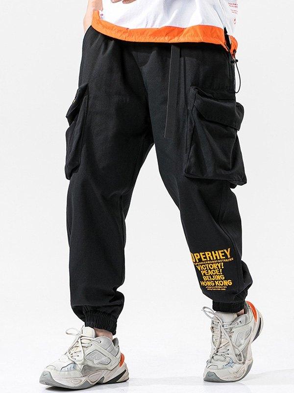 Men's Letter Print Cargo Pants - Black 3XL