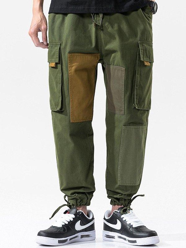 Men's Cotton Patchwork Cargo Pants - Green 4XL