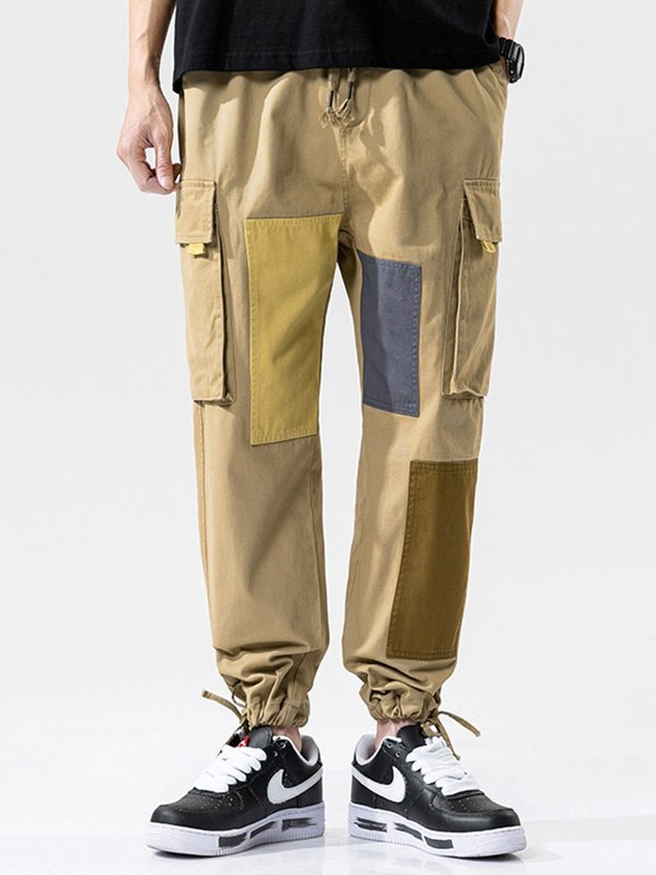 Men's Cotton Patchwork Cargo Pants - Khaki XL