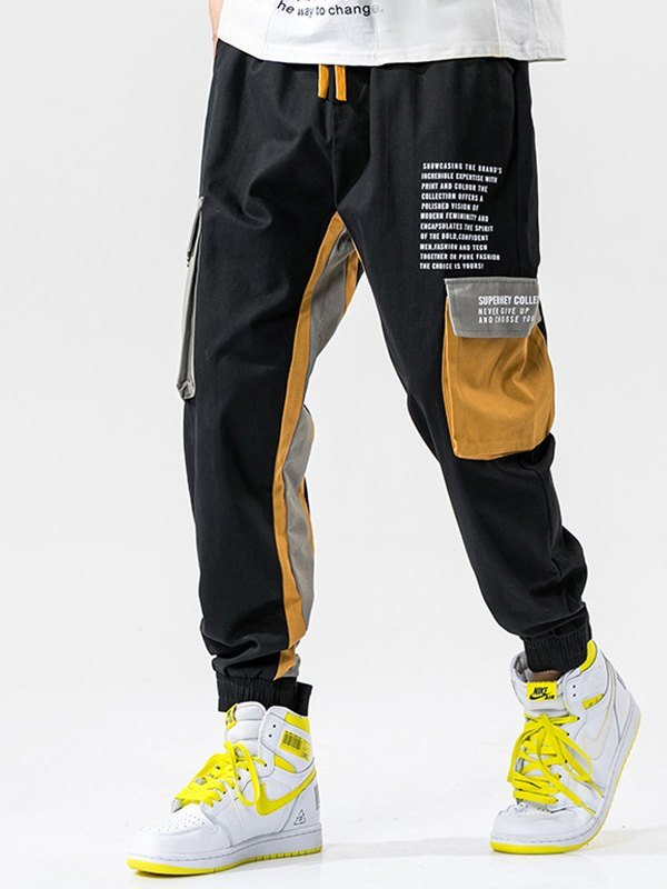 Men's Patchwork Pocket Cargo Pants - Black 4XL