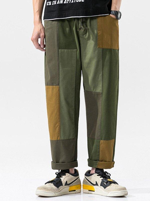 Men's Patchwork Straight Cargo Pants - multicolorple Colors M