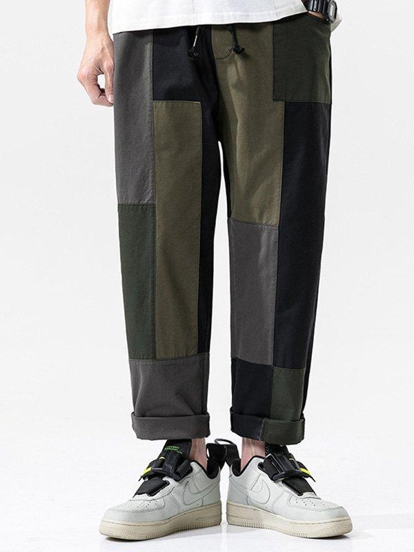 Men's Patchwork Straight Cargo Pants - multicolorple Colors XL