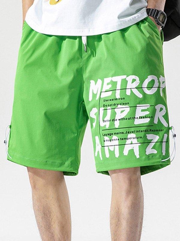 Men's Letter Print Knee-Length Shorts - Green M
