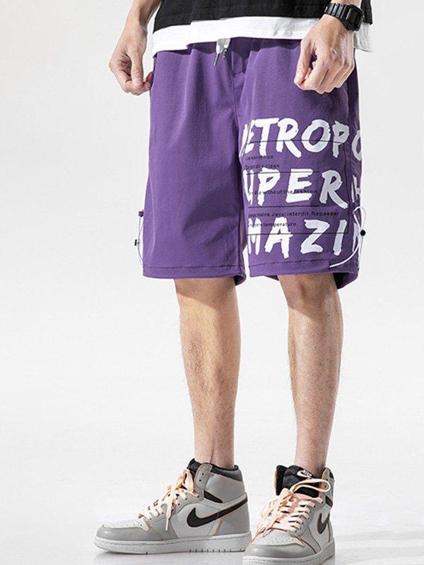 Men's Letter Print Knee-Length Shorts - Purple 3XL