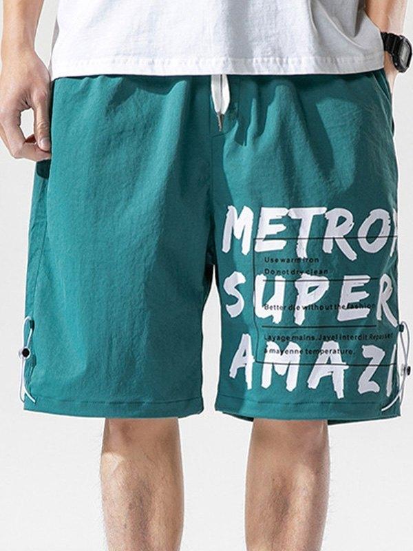 Men's Letter Print Knee-Length Shorts - Blue 3XL