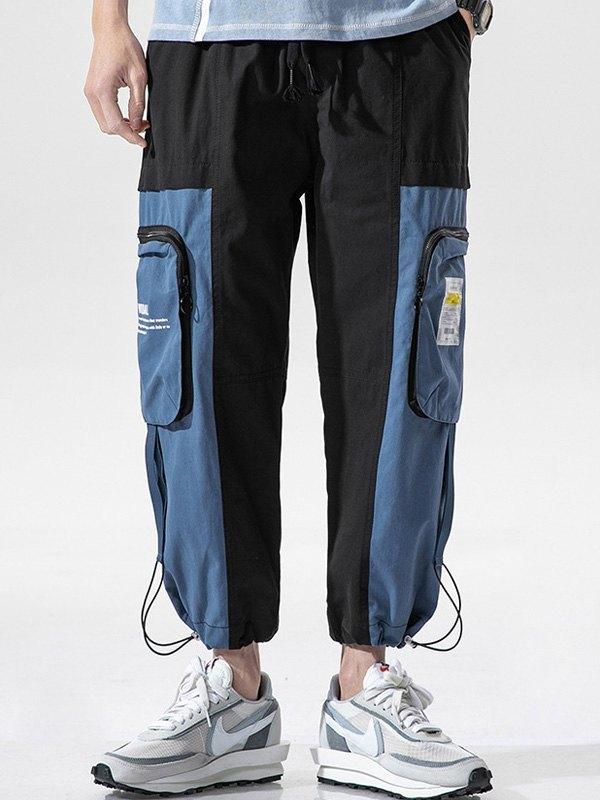 Men's Patchwork Cropped Pants - Black 3XL