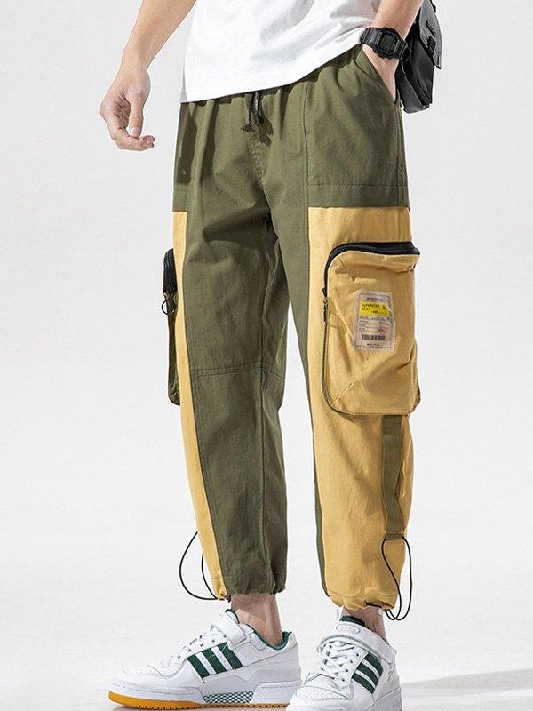 Men's Patchwork Cropped Pants - Khaki L