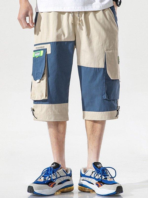 Men's Patchwork Casual Cargo Shorts - Beige L