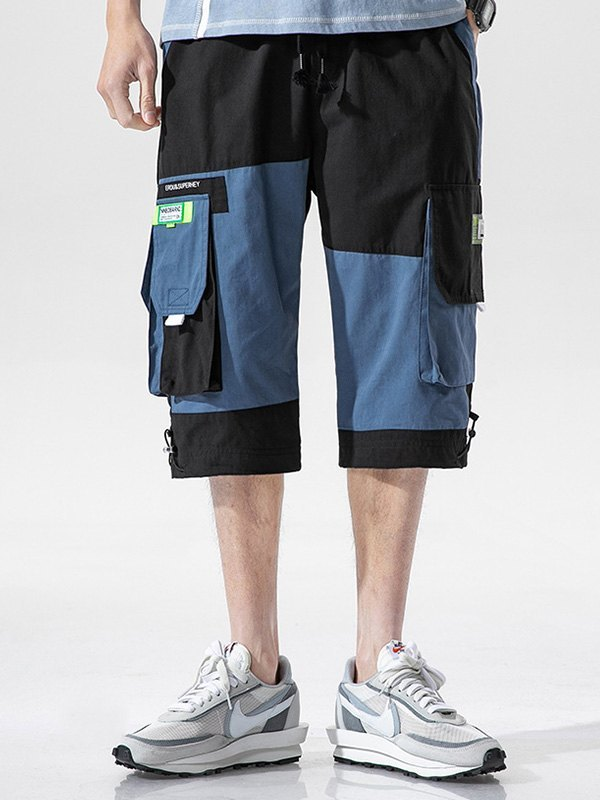 Men's Patchwork Casual Cargo Shorts - Black M