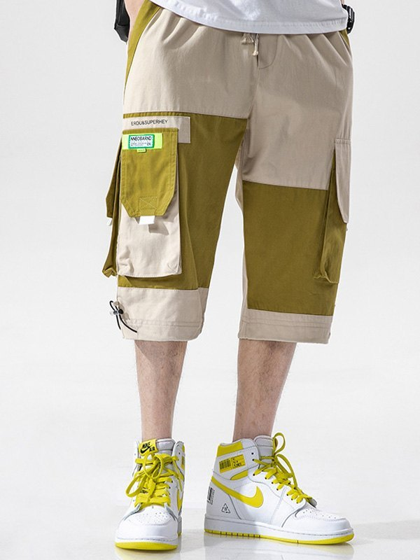 Men's Patchwork Casual Cargo Shorts - Khaki XL