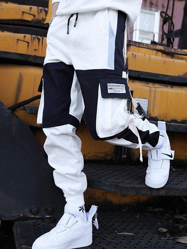 Men's Contrast Splice Cargo Pants - White 3XL