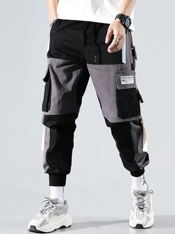 Men's Contrast Splice Cargo Pants - Black 3XL