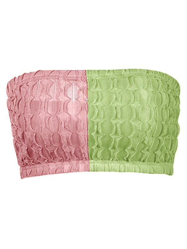 Two-Tone Jacquard Bandeau Top - Pink S
