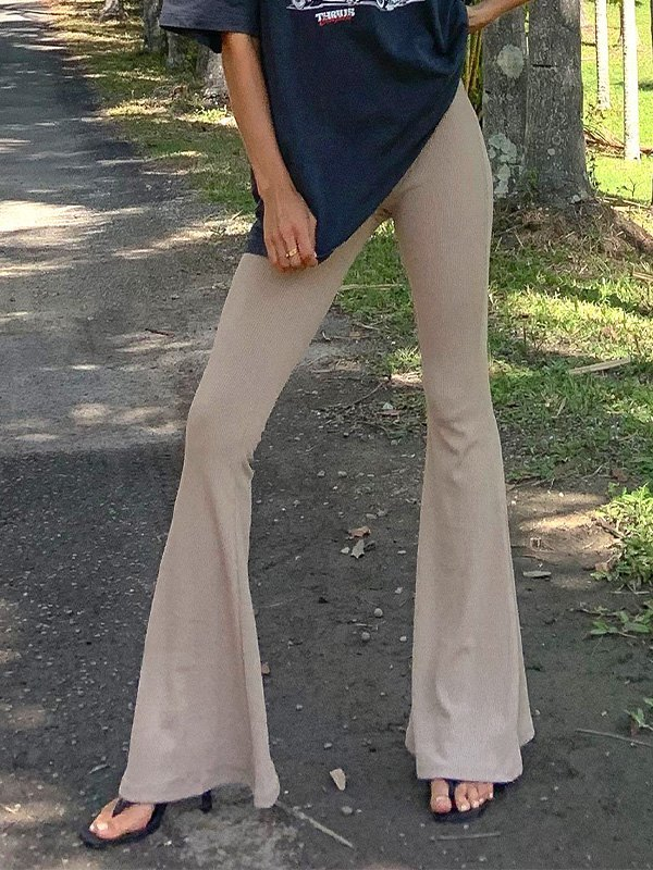 Ribbed High Rise Flare Leg Pants - Apricot M