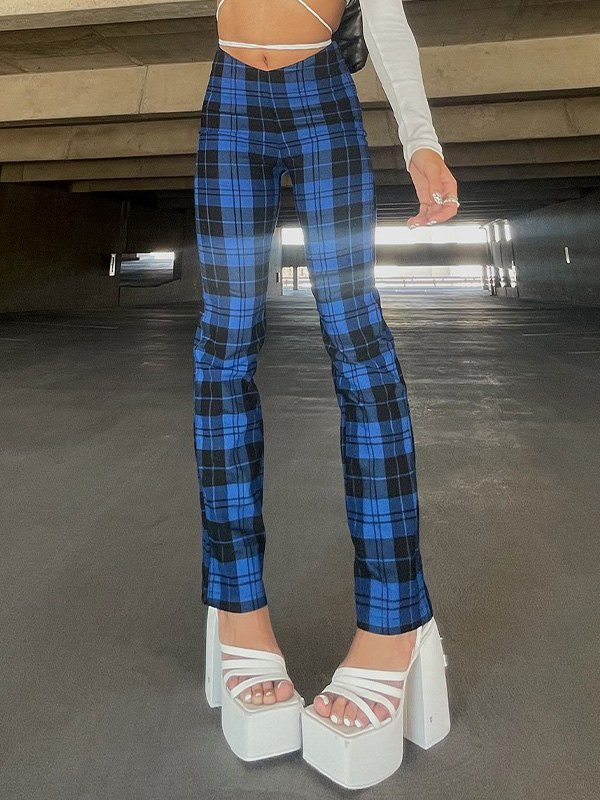 Checked Stretch Straight Leg Pants - Blue L