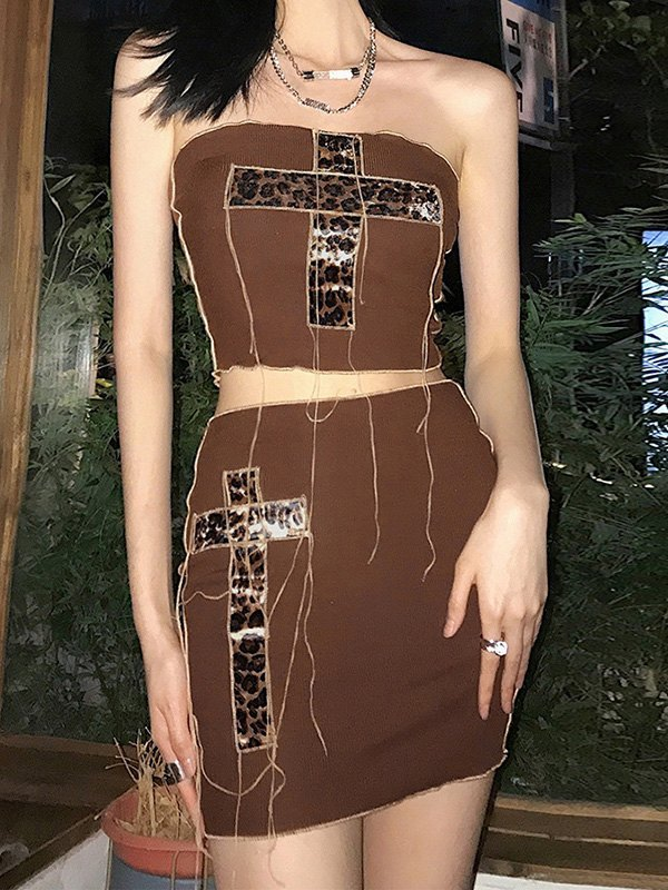 Cross Patched Ribbed Skirt Set - Brown S