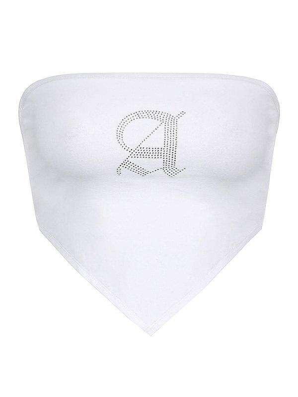Rhinestone Asymmetric Bandeau Top - White L