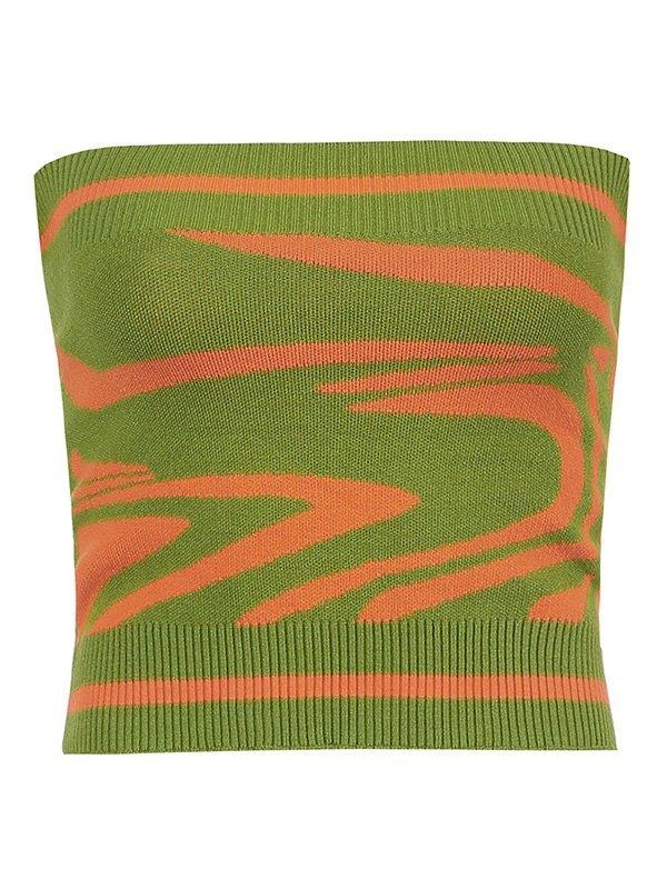 Swirl Knit Crop Bandeau Top - Green M