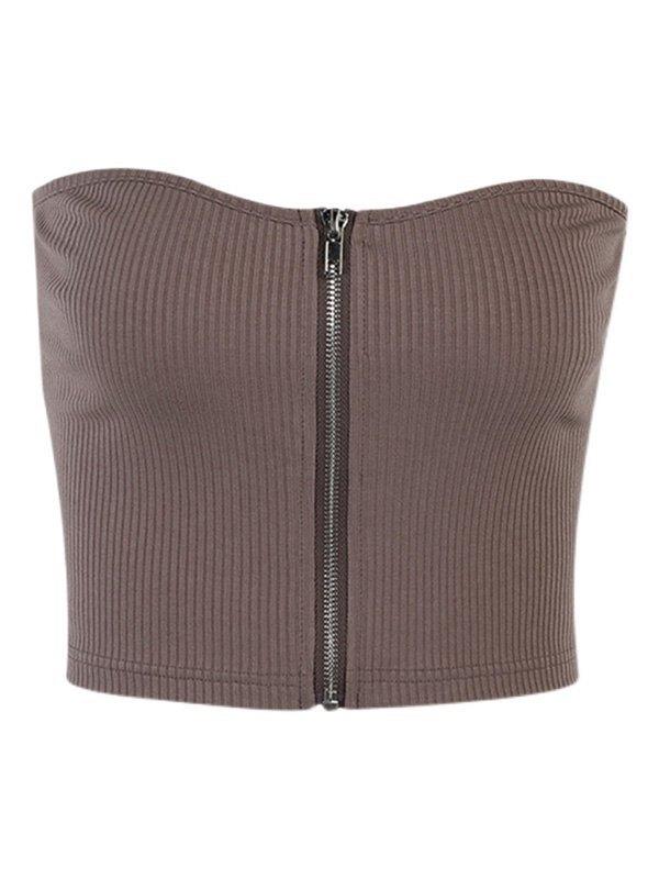 Zipper Rib-Knit Crop Bandeau Top - Brown S
