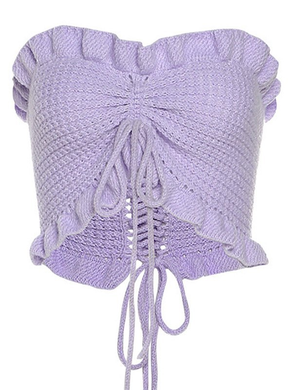 Frilled Knit Bandeau Top - Lilac ONE SIZE