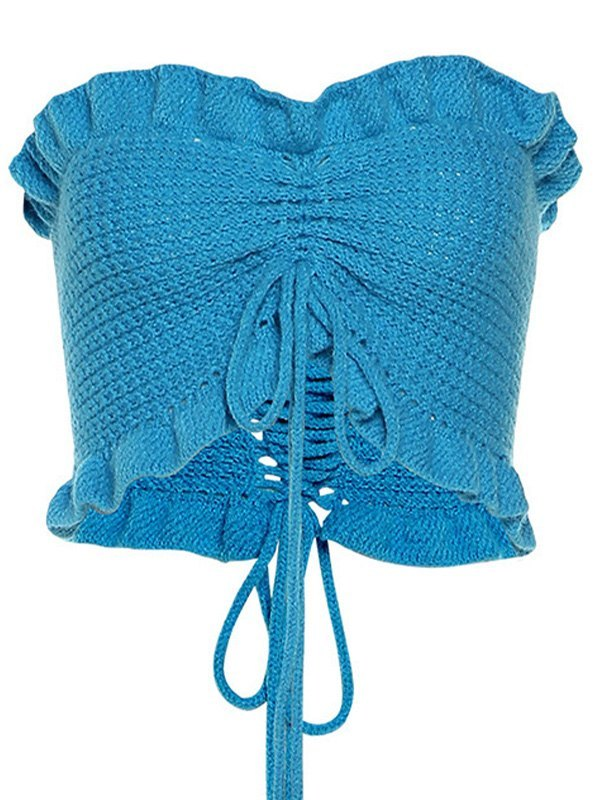 Frilled Knit Bandeau Top - Blue ONE SIZE
