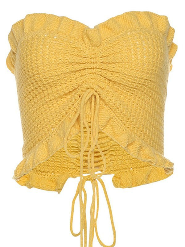 Frilled Knit Bandeau Top - Yellow ONE SIZE