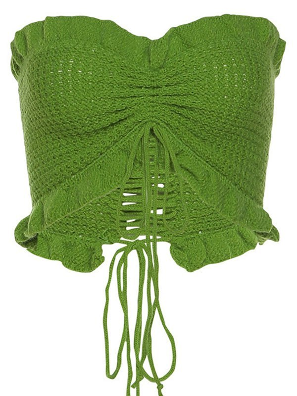 Frilled Knit Bandeau Top - Green ONE SIZE