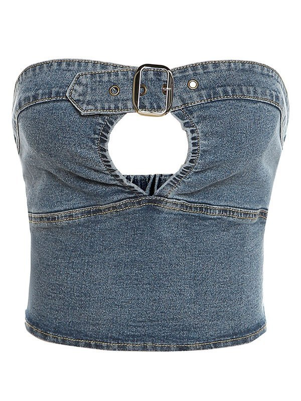 Belted Denim Crop Bandeau Top - Blue L