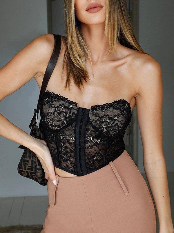 Lace Cropped Bandeau Top - Black L