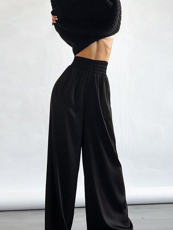 Comfy Satin Wide Leg Pants - Black L