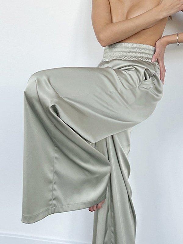 Comfy Satin Wide Leg Pants - Biscay Green L