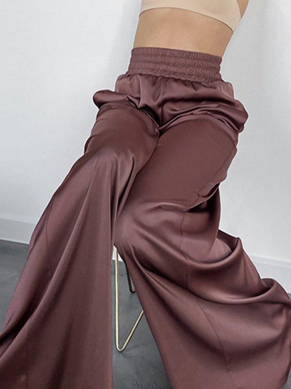 Comfy Satin Wide Leg Pants - Caramel S