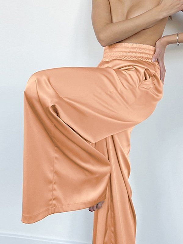 Comfy Satin Wide Leg Pants - Honey Orange L
