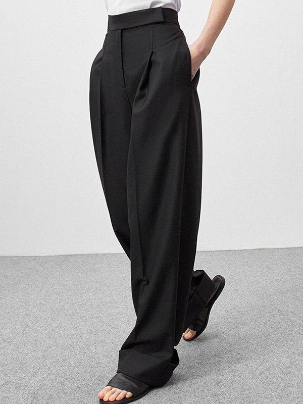 Draped Wide Leg Tailored Pants - Black L